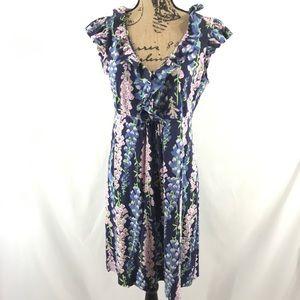 Lilly Pulitzer Foxglove Silk Cotton Dress Ruffle